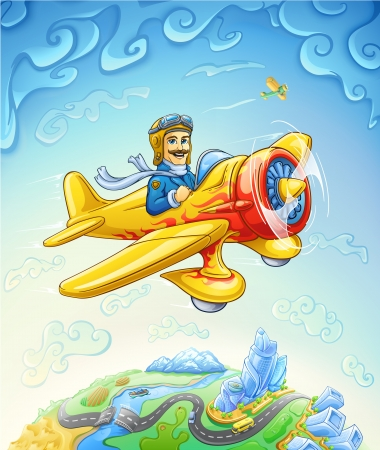 Vector illustration of cartoon plane with smiling pilot flying over the earth