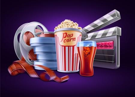 camara de cine: ilustraci�n del tema de cine sobre fondo oscuro