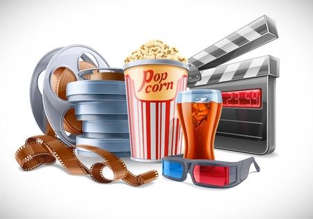 movie film reel: illustration of cinema theme on light background  Illustration