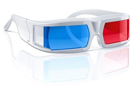 anaglyph: illustration of 3d glasses on white background. Illustration