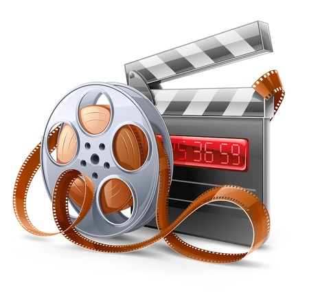 film slate: illustration of cinema theme on light background  Illustration