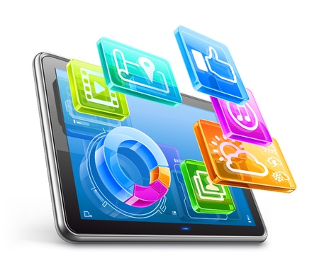 computer program: illustration of tablet PC with application icons and pie chart isolated on white background