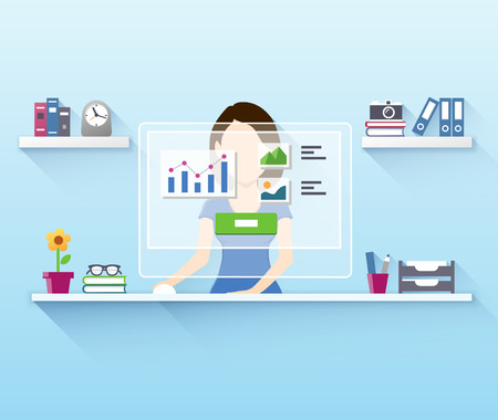 Flat vector illustration of office woman worker using computer Vector
