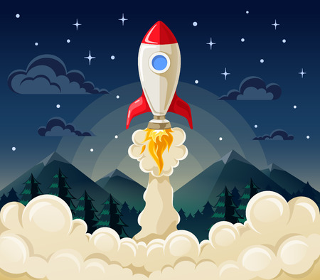 Flat vector illustration concept of space rocket ship startup on dark background of mountains and starry sky. 일러스트