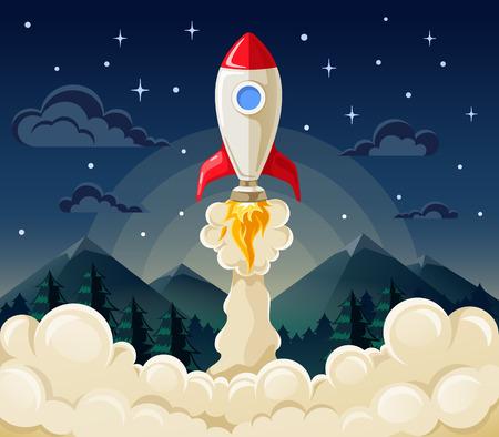 cohetes: Piso ilustraci�n vectorial concepto de inicio cohete espacial en el fondo oscuro de las monta�as y el cielo estrellado.