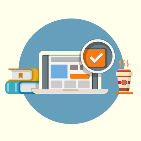 checkbox: Flat vector illustration of laptop with checkbox, books and coffee on round background