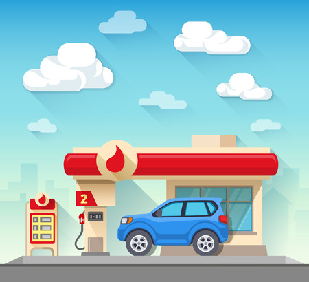 car transportation: Flat vector illustration gas station and car in front of cloudy sky and city silhouette