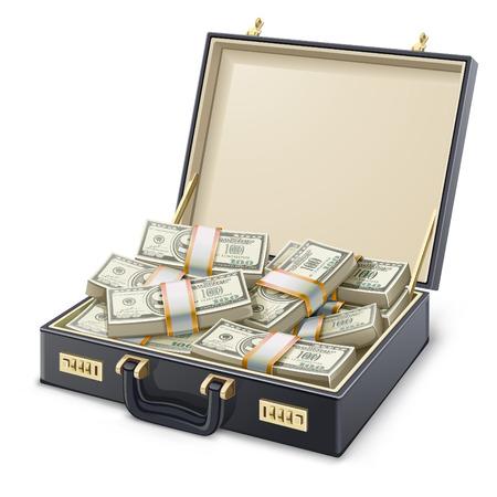 illustrazione valigia piena di denaro su sfondo bianco