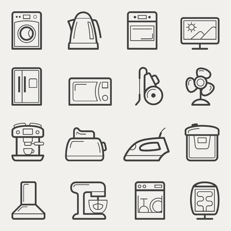 home appliances: Electrodom�sticos iconos de vector en estilo de l�nea