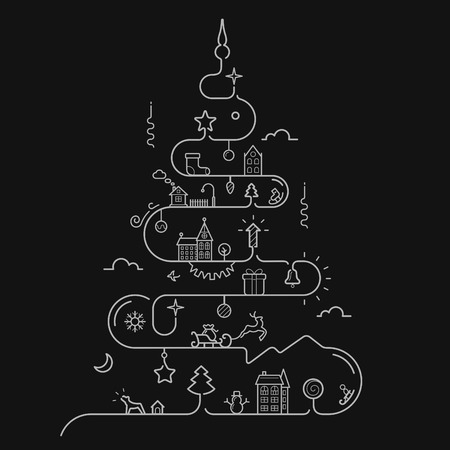 sledge dog: Vector illustration of Abstract Christmas tree in line style with elements of Christmas, New Year, winter themes
