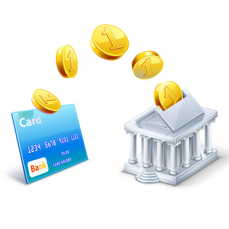 bank building: Vector illustration of money coins transfer between card and bank isolated on white background