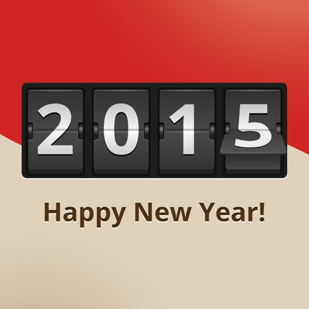 Happy New Year 2015 numbers on flip clock vector illustration Vector