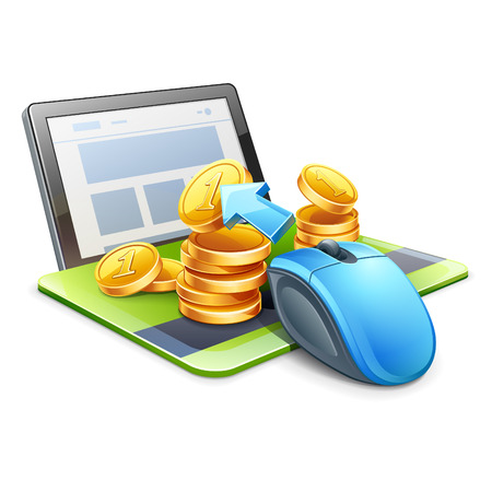 Vector illustration of computer mouse on credit card pointing the coins in direction of tablet