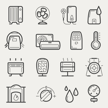 Vector climatic equipment icon set in line style Illustration