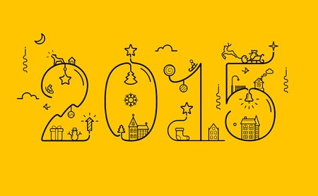 sledge dog: Vector illustration of New Year 2015 inscription with decoration in line style Illustration