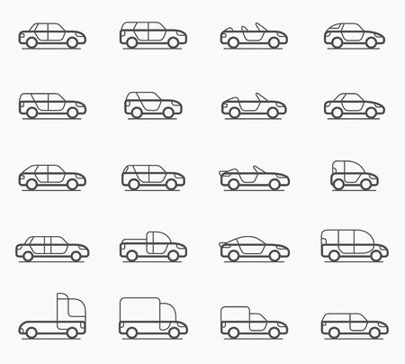Car body types vector icon set Vector