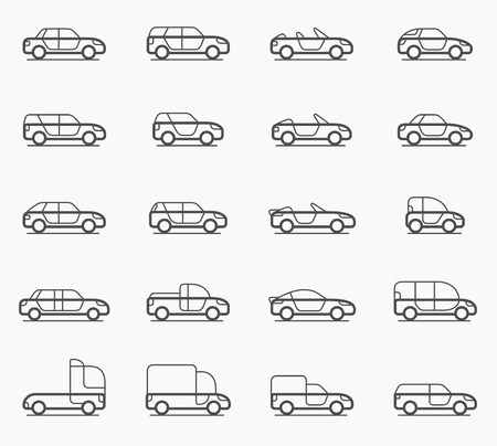 minivan: Car body types vector icon set