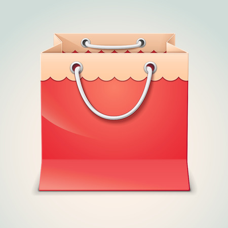 Red gift shopping bag isolated on light background Vector