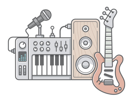 synthesizer: Vector illustration of music tools in wireframe flat style: guitar, synthesizer, microphone, speaker