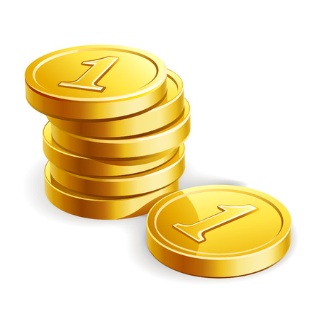 stack of coins: Vector illustration of golden coins isolated on white background
