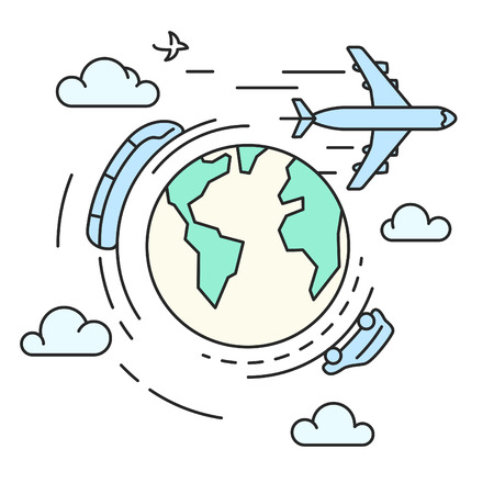 drive around the world: Vector line illustration of different types of transport around the earth