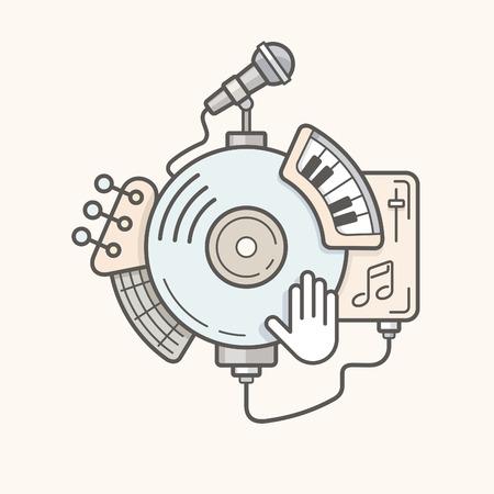fretboard: Abstract music tools line vector illustration Illustration