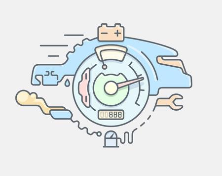 piezas coche: Servicio de coche de línea abstracta plana ilustración