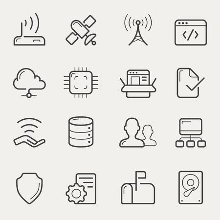 fila de personas: Icono de red y servidores de establecer en l�nea, estilo de trazo.