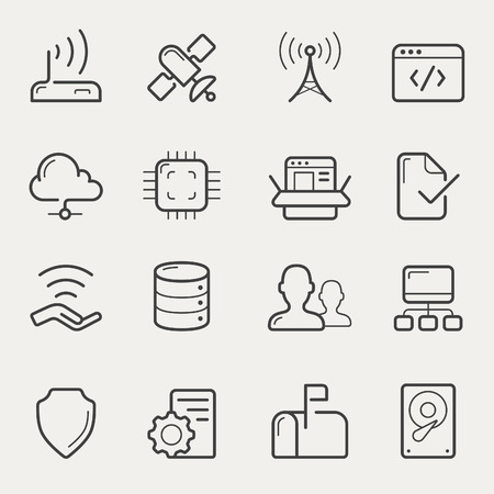 Network and servers icon set in line, stroke style. Vector