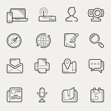 man with laptop: Internet communication and social media line vector icons Illustration