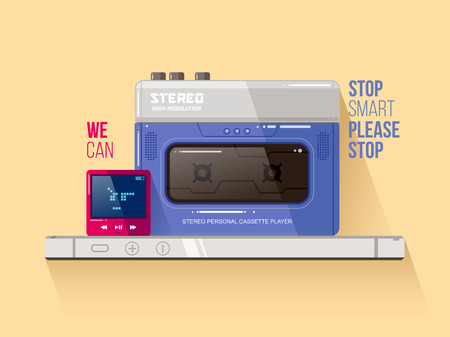 hi fi system: Cassette and mp3 players vs smart phone vector illustration in flat style