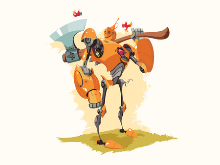 metal legs: Vector illustration of Tin woodman as if he was a robot.