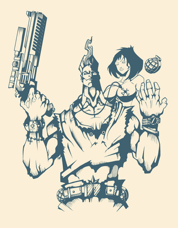 gangsta: Character of Armed man with woman in comic style Illustration