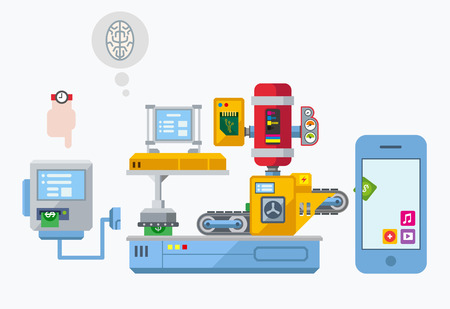 machine operator: Mobile app development production plant illustration concept in flat style