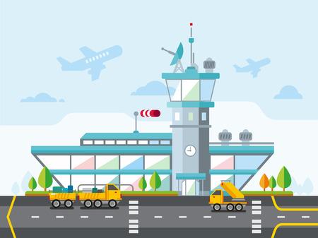 Travel Lifestyle Concept plannen van een zomervakantie Toerisme en Journey Symbol Vliegtuig Airport City Modern Flat Design Icoon Vector Illustration Stock Illustratie