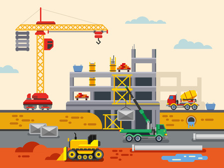 construction: Building Construction Flat Design Vector Concept Illustration. Concept Vector Illustration in flat style design. Real estate concept illustration.