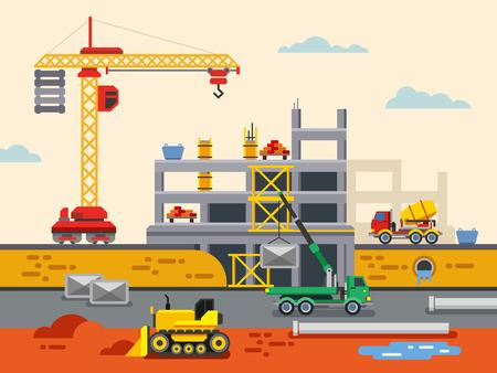 materiales de construccion: Edificio Plano Construcci�n Dise�o Concepto de ilustraci�n vectorial. Ilustraci�n vectorial concepto en el dise�o de estilo plano. Ilustraci�n del concepto de bienes ra�ces.
