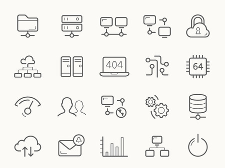 data processor: Network Hosting and Servers Line stroke vector Icons.