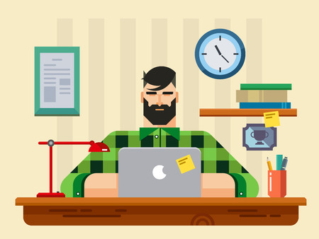 man using computer: Man at a Desk in Front of Laptop flat design style