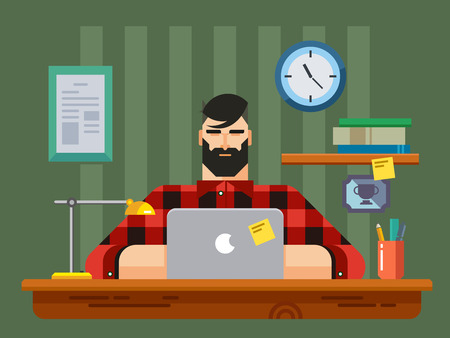 man using laptop: Man at a Desk in Front of Laptop flat design style