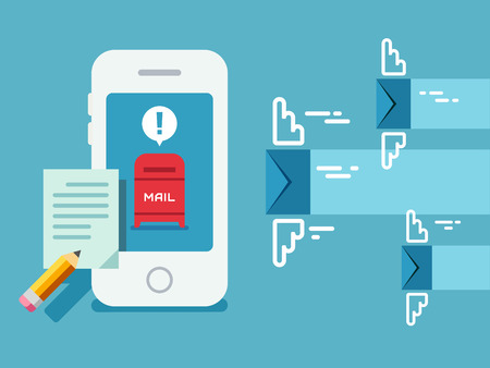 sms icon: Newsletter notification on smart phone screen concept vector illustration on flat design style.