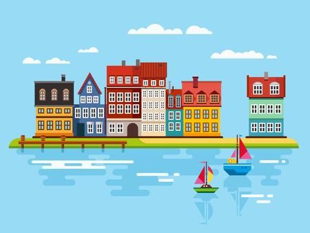 barco caricatura: Puerto, frente al mar con los barcos en ilustraciones planas río vector
