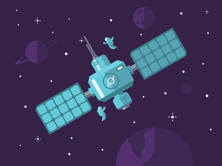 Space station with astronauts in outer space concept vector illustration in flat style. Illustration