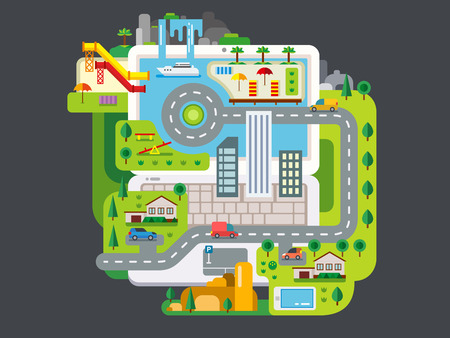 waterfall in the city: City Built Around Laptop concept flat vector illustration Illustration