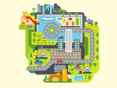 built: City Built Around Laptop concept flat vector illustration Illustration