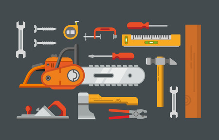 Construction tools objects vector icons, illustrations in flat style. Vector