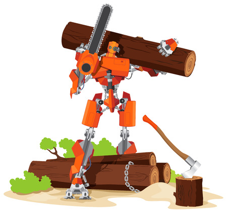woodcutter: Robot Woodcutter cartoon Character concept vector illustration