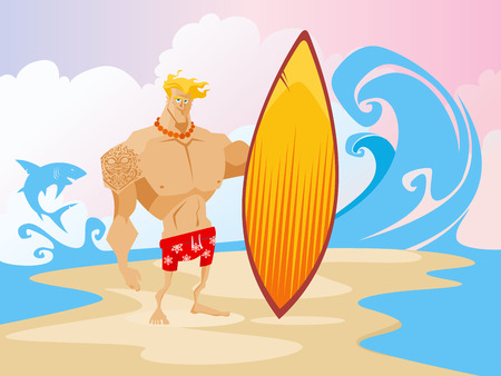 Surfer on the beach caracter concept vector illustration Illustration
