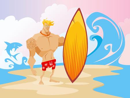 surfer vector: Surfer on the beach caracter concept vector illustration Illustration