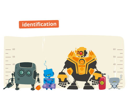 bot: Robot identification concept vector illustration in flat style